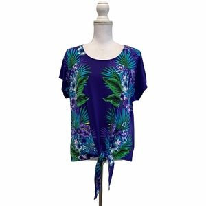 Dressbarn Blue Large Tropical Print Tie Front Top